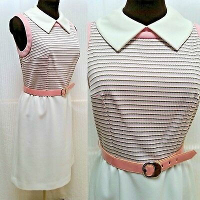 Vintage 1960s ALISON AYRES MOD DRESS -  Pink White Stripes - Size S/M - EUC