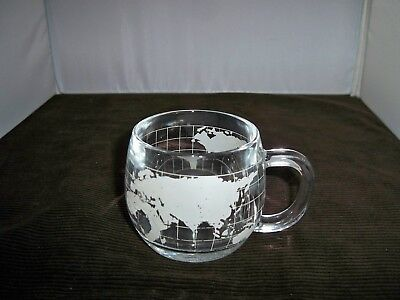 Vintage 1970s The Nestle Co Inc Frosted Etched Glass World Globe Map Cup