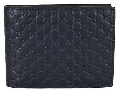 08058968761 NEW Gucci Men s 333042 Blue Leather Micro GG Bifold Wallet W Removable ID