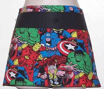 Black apron marvel comics waitress server waiter waist apron 3 pockets
