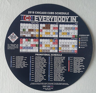 Chicago Cubs 2018 Magnet Schedule Giordano's Sponsored New Condition
