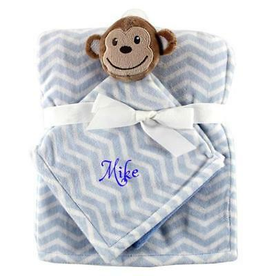 Personalized Blanket & security blanket Baby Set BLUE Monkey -FREE Shipping Gift