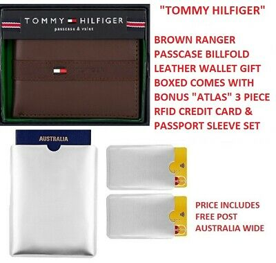 Mens Tommy Hilfiger Brown Ranger Passcase Billfold Wallet Leather & Gift Boxed!