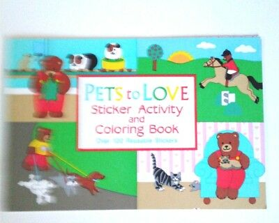 100 Stickers Pets of Love Sticker Activity and Coloring Book 8 pages New