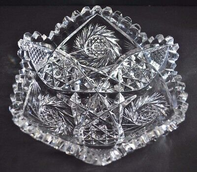 "American Brilliant Period ABP Cut Crystal 6"" Shallow Nappy Candy Nut Dish Bowl"
