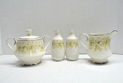 Vintage CARICO CHINA YELLOW SUGAR BOW W/ LID, CREAMER AND SALT PEPPER 4 PC SET