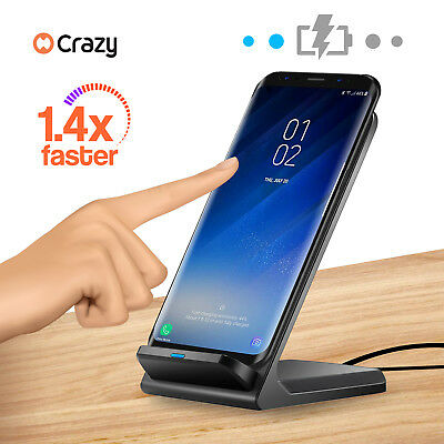 Qi Wireless Fast Charger Charging Stand Dock for Samsung Galaxy S8 S9 iPhone X 8