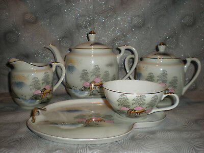 Exquisite Vintage Japanese Porcelain Kutani China Teapot Tea/luncheon Set 11 Pc