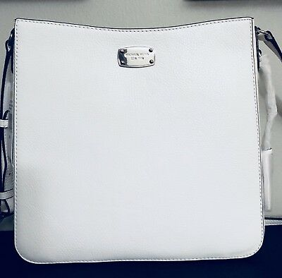 58312bfeb30c Michael Kors Jet Set Travel Optic White Leather Large Messenger Bag  38H7XTVM3L