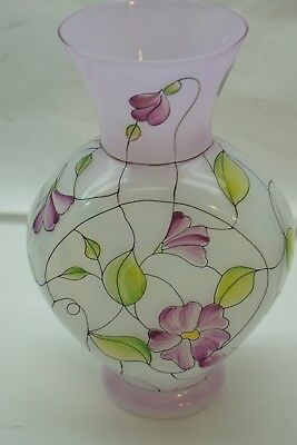 FENTON ART GLASS VASE STAINED GLASS FRENCH OPAL HAND PAINTED FLORAL 7.5in SIGNED