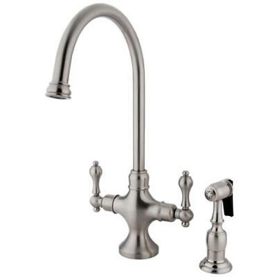 Kingston Brass Vintage Double Handle Kitchen Faucet with Brass Side Sprayer, KS1