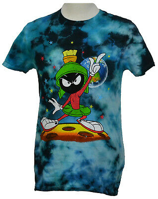5549c1618 Marvin the Martian T-shirt Looney Tunes Graphic Tee Cotton Bleached Blue NWT