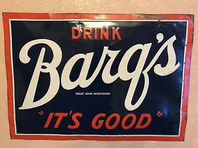 Vintage Barq's Drink Sign-Great Color ! Antique Soda Cola Root Beer Sign