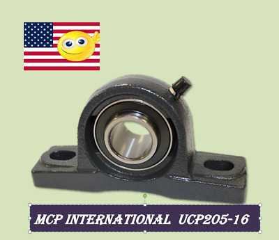 "(100pcs) UCP205-16 Pillow Block Bearing 1"" Bore 2 Bolt Solid Base"