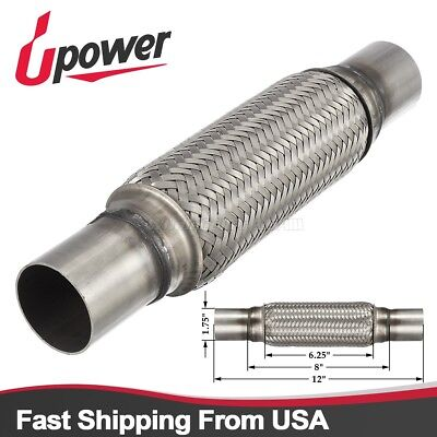 17504DN Exhaust Flex Pipe Stainless Steel Double Braid 1.75 x 4 w/ Ends 8 OAL Automotive