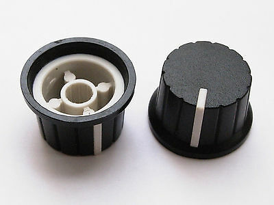 "12pcs Plastic Knobs VOLUME TONE CONTROL Potentiometers 0.59"" X 0.94"" Black&White"
