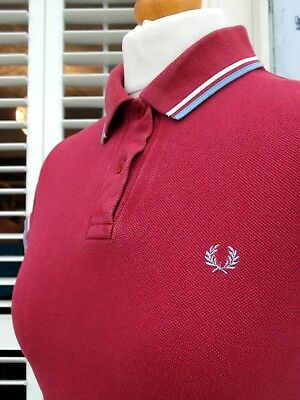Fred Perry Women's Maroon Twin Tipped Pique Polo - UK 6-8/ EUR 34-36/ USA 2-4