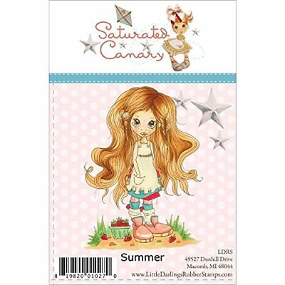 "Saturated Canary Unmounted Rubber Stamp 4.5""x3""-Summer"