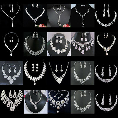 Crystal Women's Necklace Earrings Jewelry Set Bridal Rhinestone Party Wedding