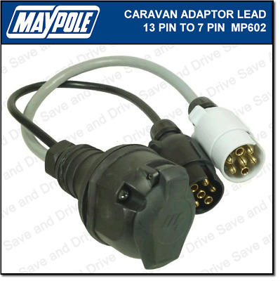 Maypole 7 Pin to 13 Pin Plug Caravan Towing Adaptor Lead 12N/12S Electrics MP602