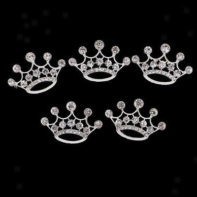 5x Crown Shape Alloy Crystal Craft Buttons Scrapbooking Embellishment 57mm