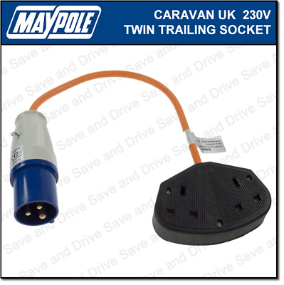 Maypole Caravan 230V 13A UK Twin Trailing Socket & Lead Double Electrics MP3752
