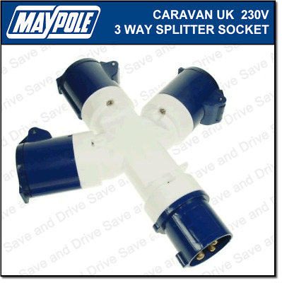 Maypole Caravan 230V 16A UK 3 Way Hook Up Splitter Socket Electrics MP370