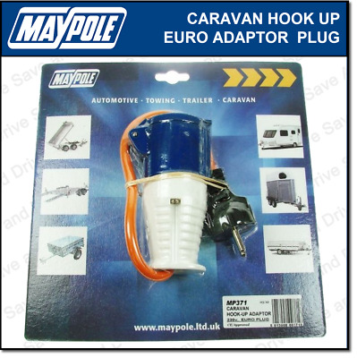 Maypole Caravan 230V Hook Up Euro Mains Adaptor Plug & Socket Electrics MP371