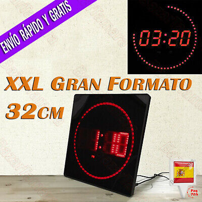 Reloj LED Pared Digital Extra Grande 32x32cm Temperatura Calendario Oficina Rojo