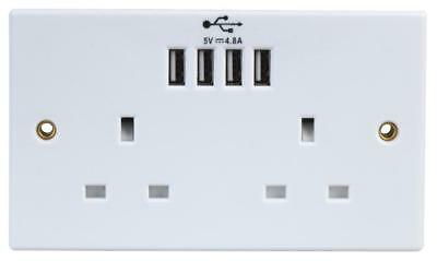 DOUBLE 13A 2 Gang Mains PLUG Sockets with 4x 2.4A USB Ports Electrical Outlet