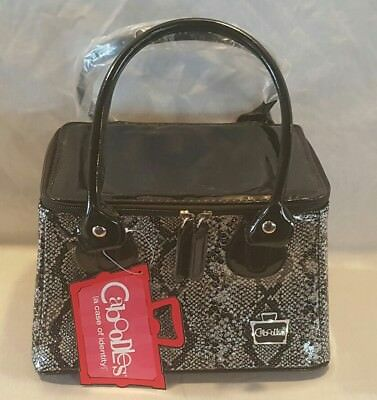 New Caboodles Sassy Tapered Tote Makeup Cosmetic Travel Bag Black Snakeskin
