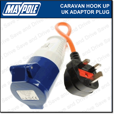 Maypole Caravan 230V 16A Hook Up UK Mains Adaptor Plug & Socket Electrics MP374