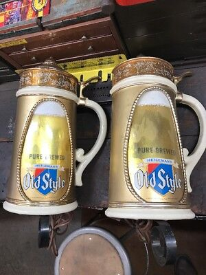 Rare Pair Of Old Style Beer Lighted Steins