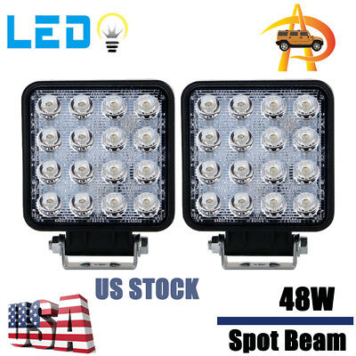 2X 48W LED Work Light Spot Truck Driving Fog Lamp Square 4WD Jeep 4.3INCH Boat