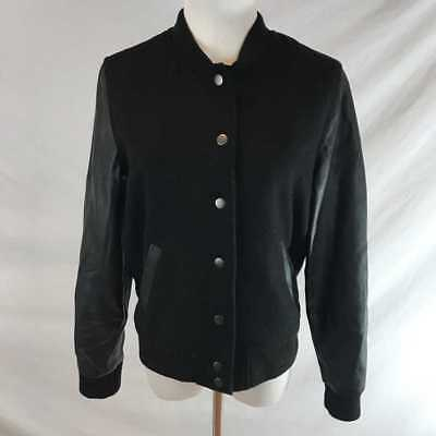 b7cf45753 FOREVER 21 BLACK Varsity Bomber Jacket Faux Leather S Small