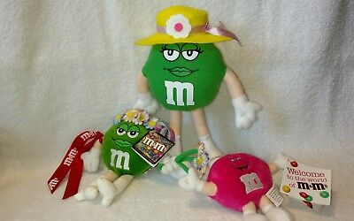 M&M's Plush Green Girl With Easter Hat, Green Groovy Girl & Mini Pink Fun Friend