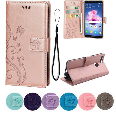 PU Leather Butterfly Print Flip Wallet Case For Huawei P Smart P20 P30 Y6 Cover