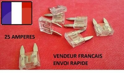 Lot de 5 mini fusibles 25 Amp 25 A auto moto scooter automobile voiture 16x11mm