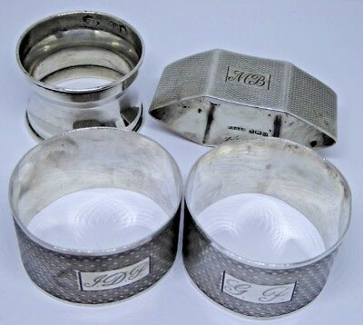 Collection of Vintage Hallmarked Solid Silver Napkin Rings