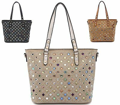 Womens Faux Leather Flat Everyday Cluster Zip Diamante Occasion Shoulder Bag
