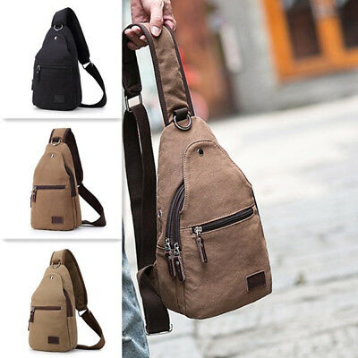 Vintage Canvas Casual Outdoor Travel Multi-function Chest Bag Crossbody Bag