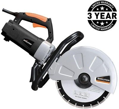 Evolution Power Tools 15 Amp 12 in. Corded Portable Concrete Saw Adjustable