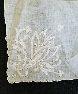 A3 Vintage Bridal Wedding Embroidered Linen Lily Floral Flower Hanky Hankies