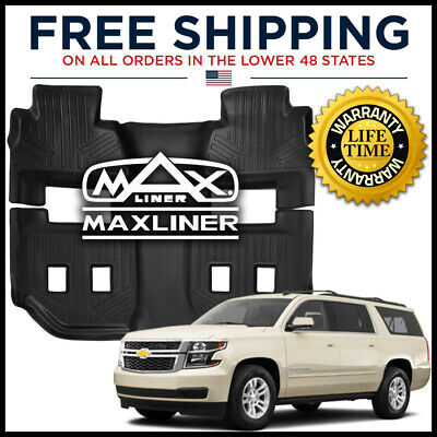 MAXFLOORMAT 2015-2019 Chevy Suburban/GMC Yukon XL 2nd/3rd Row Liner Mat BLACK