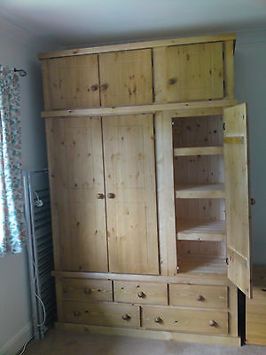 Pine Furniture Aylesbury  Triple 5 Drawer Wardrobe With 3 Shelves With Top Box