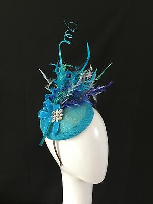 AA COUTURE ASCOT blue royal lilac turquoise ladies fascinator hat wedding