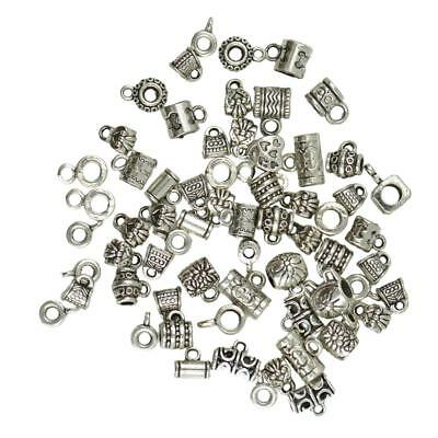 100x Mixed Antique Silver Charm Pendants Spacer Beads with Loop DIY Jewelry