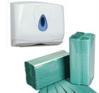 210 Green C fold 1 Ply Paper Hand Towels tissues & Dispenser