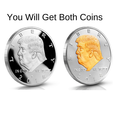 Donald Trump Challenge Coin 2018 Silver & Two Tone 2 Coin Set 40MM
