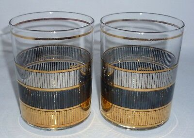 2 Vintage CULVER TRIPLE REFLECTION 22K GOLD Old Fashioned Lowball Glasses MCM